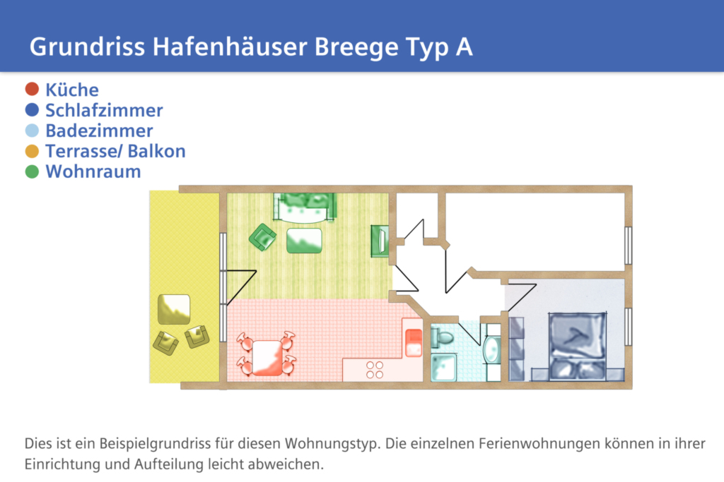 Hafenhäuser Breege, A14: 57m², 2-Raum, 3 Pers., Ba