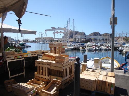 Hafen und Werft vom Markt gesehen