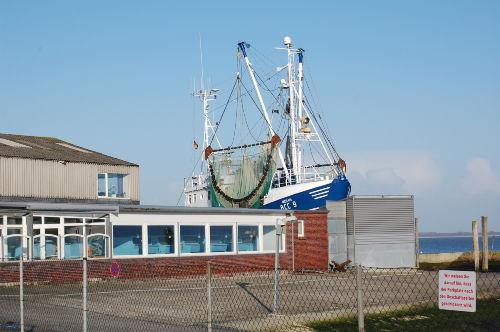 Fischrestaurant mit Kutter am Hafen