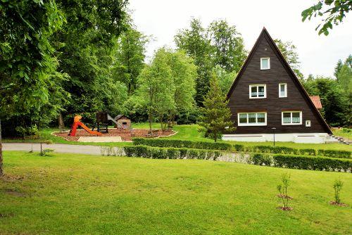Blick auf Spielplatz und Finnhaus 1