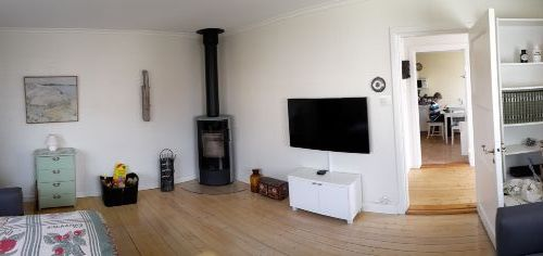 Living room with brand new fireplace