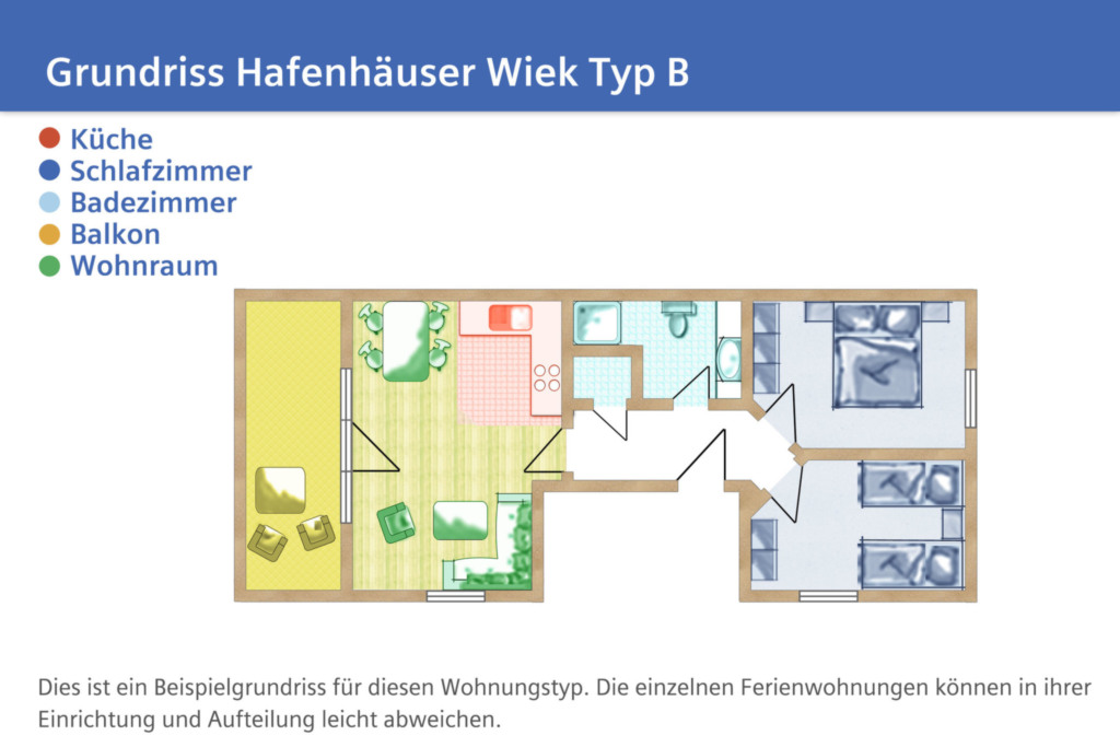 Hafenhäuser Wiek, B03: 60 m², 3-Raum, 4 Pers., Bal