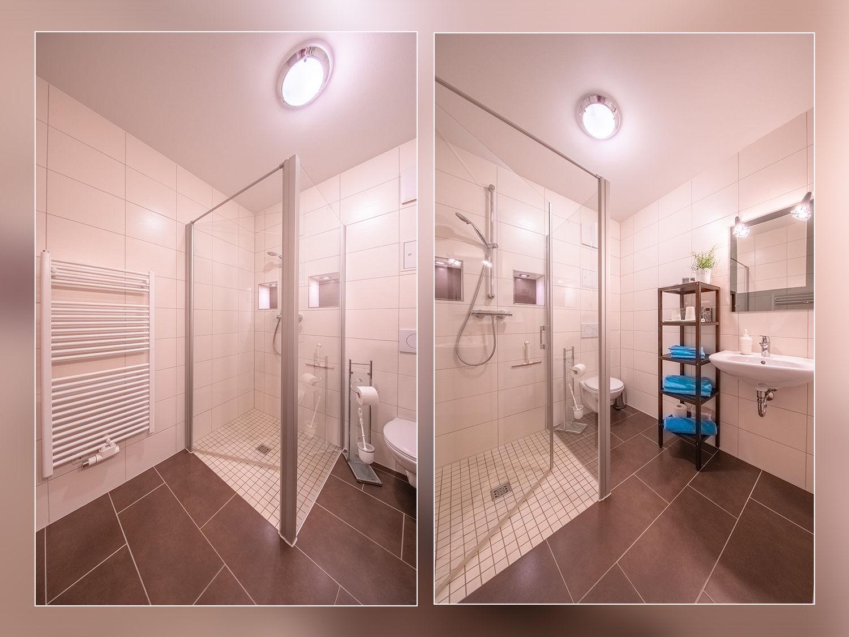 Ebenerdige,moderne Dusche 1*1 Meter