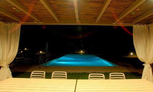 Blick aus Gazebo zum Pool