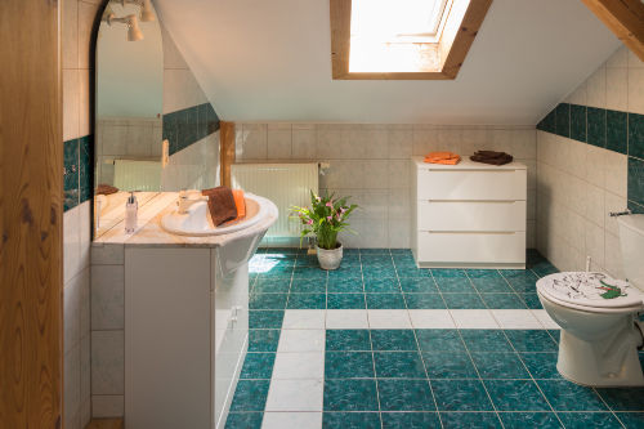 Bad mit Dusche, WC im 2. OG