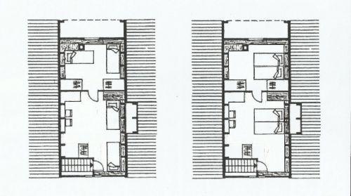OG: links Einzel-, rechts Doppelbetten