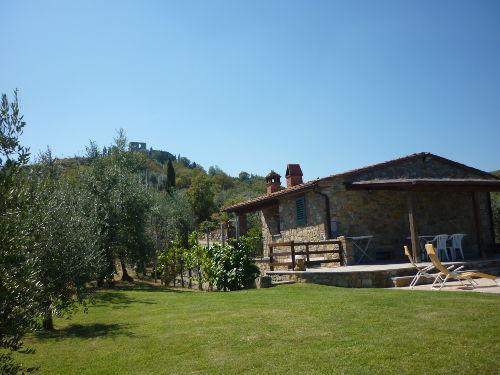 Blick auf Hausseite mit Grillbalkon