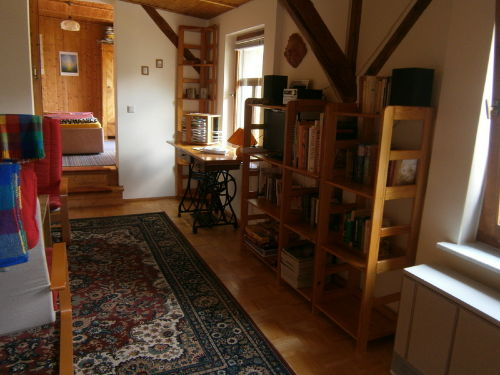 Wohnzimmer von der Treppe aus