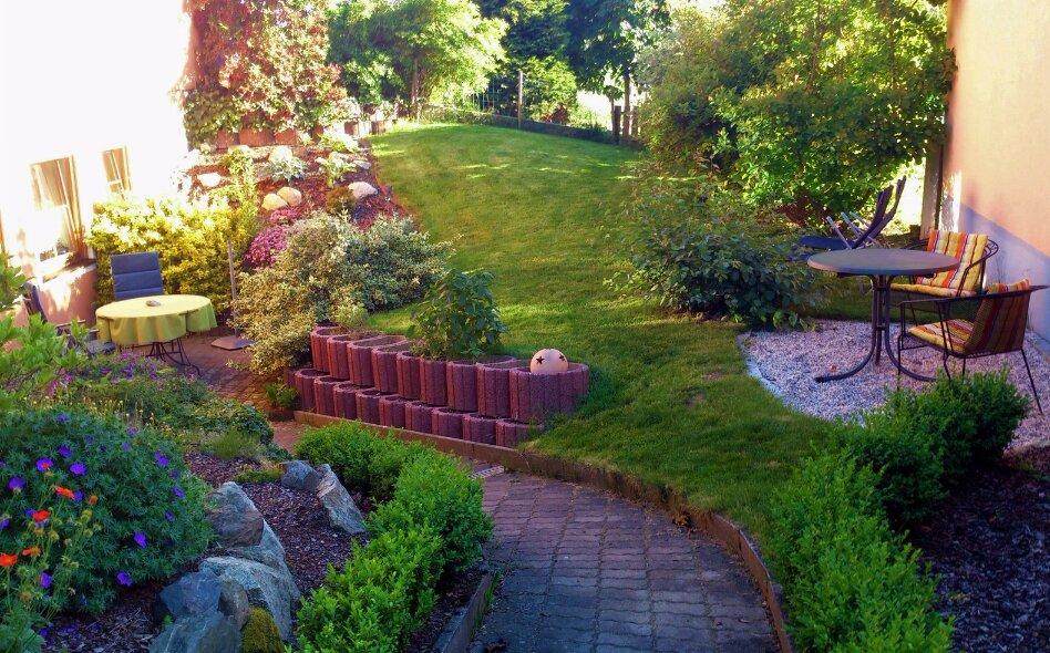 Blick vom Gartentor in den Fewo-Garten