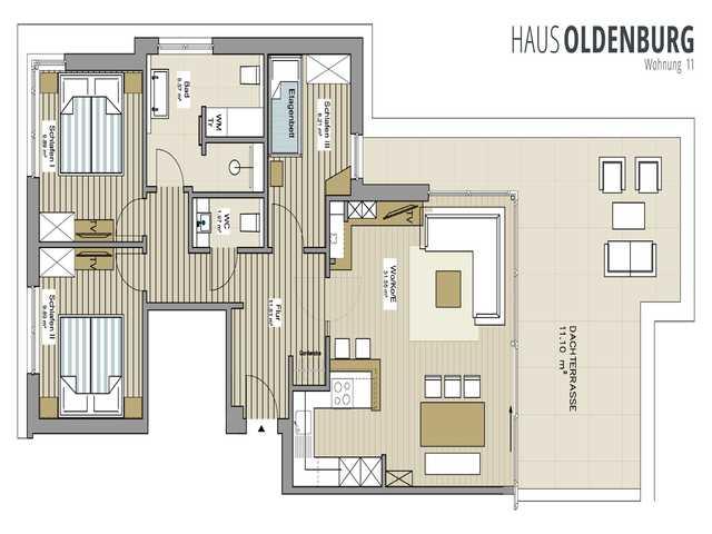 Haus Oldenburg Whg. 11, exklusive Whg., große Dach