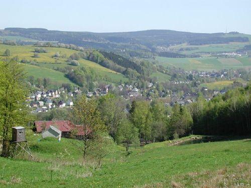 Blick auf Pöhla im Erzgebirge
