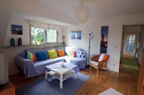 Wohnzimmer und Flur - Blick auf den See