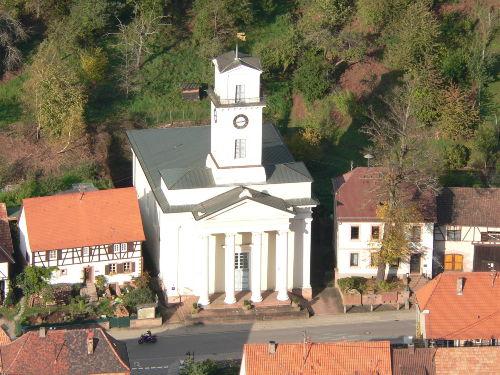 Blick vom Mühlenfelsen auf unsere Kirche