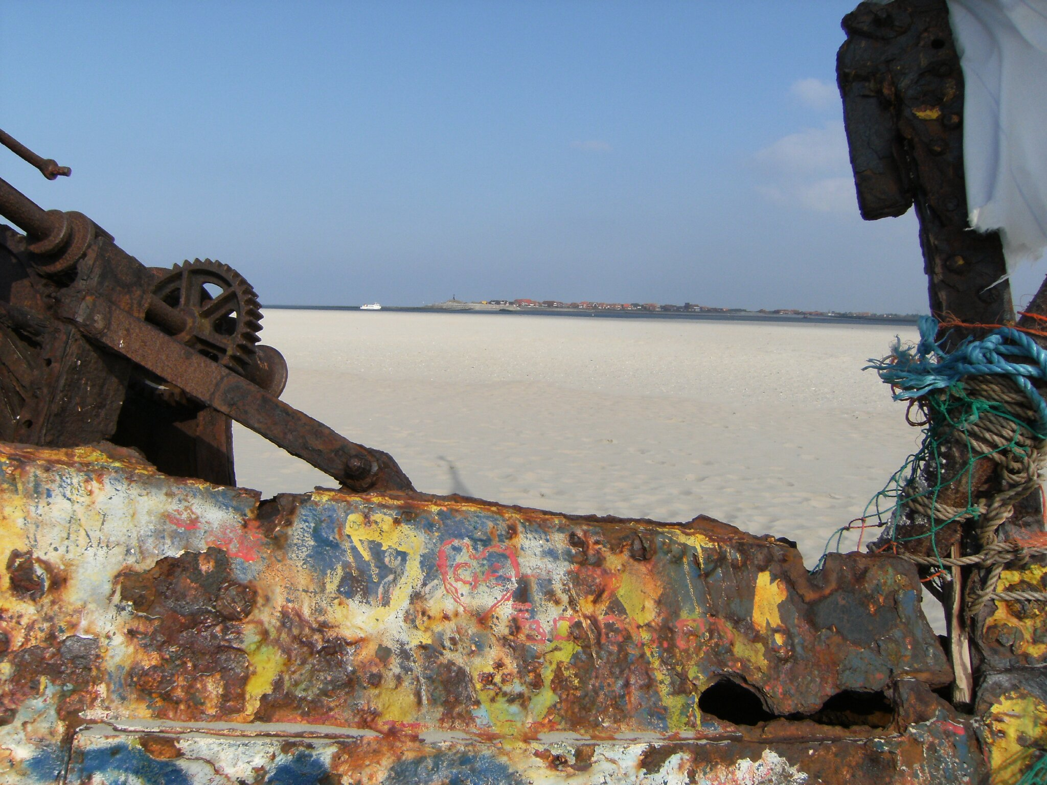 Blick vom Schiffswrack auf Baltrum