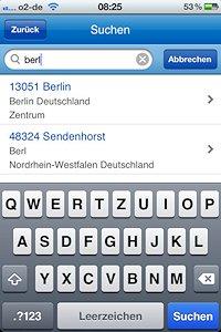 App Screenshot Sucheingabe