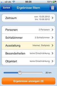 App Screenshot Ergebnisse filtern