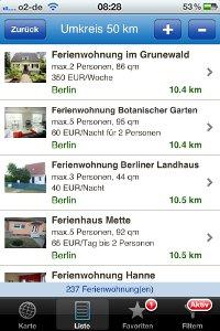 App Screenshot Ergebnisliste