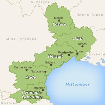 Languedoc-Roussillon-Karte