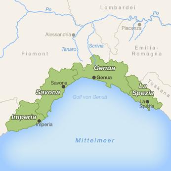 Ligurien-Karte