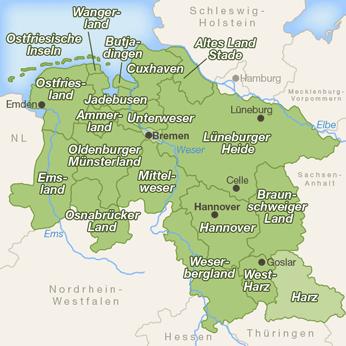 Niedersachsen-Karte