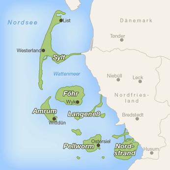 Nordfriesische Inseln-Karte