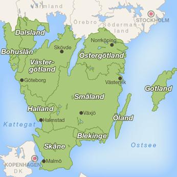Südschweden-Karte