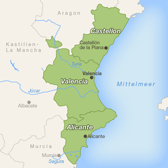 Valencia (Region)-Karte