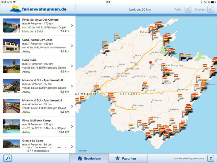 iPad App Liste + Karte