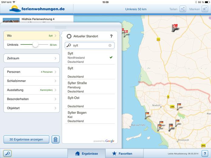 iPad App Suche+Filter