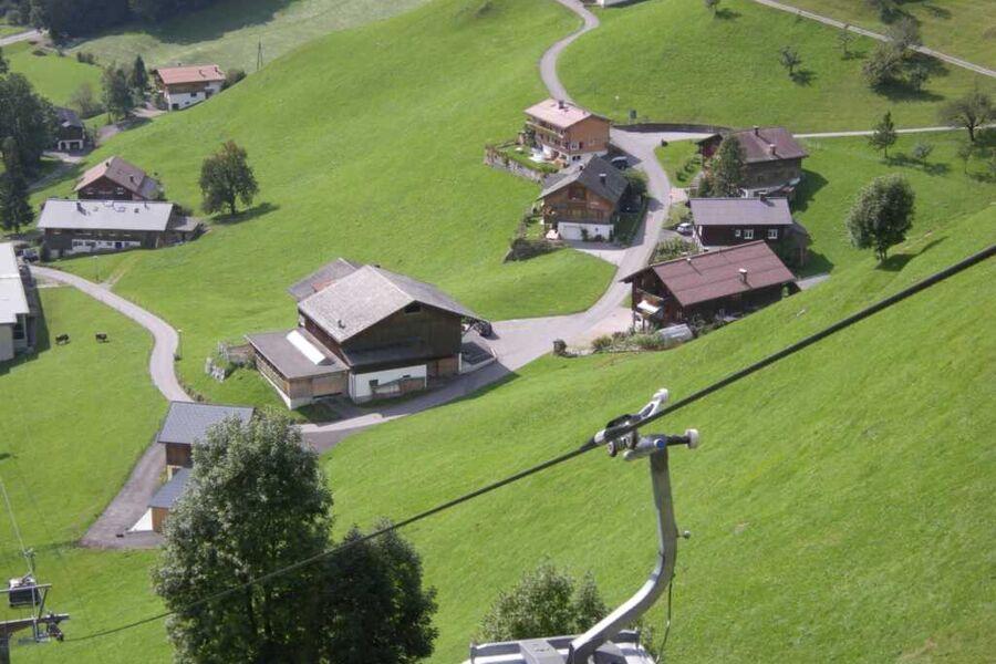 Blick von der Bergbahn zum Haus