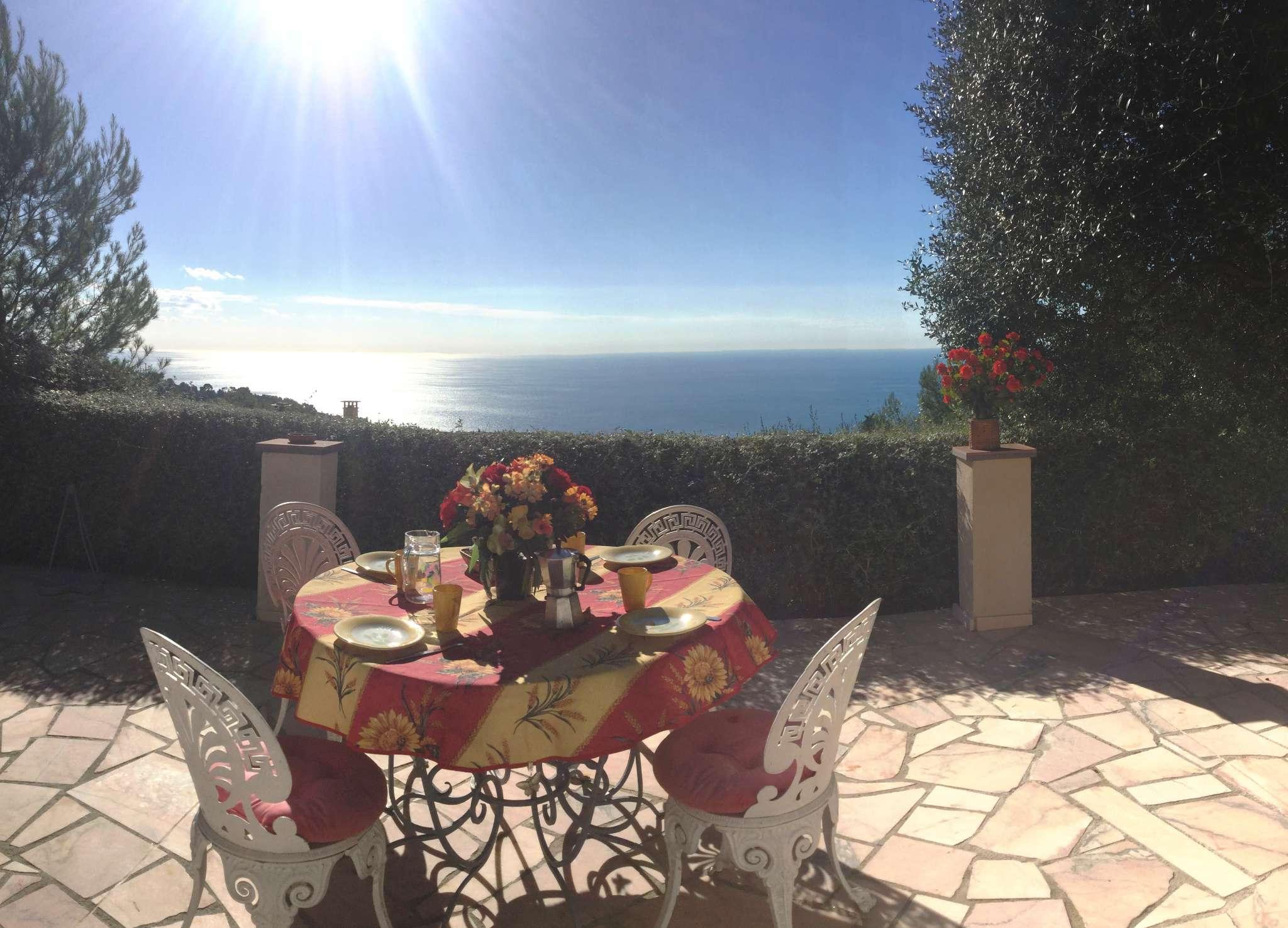 Meerblick von der sonnigen Terrasse