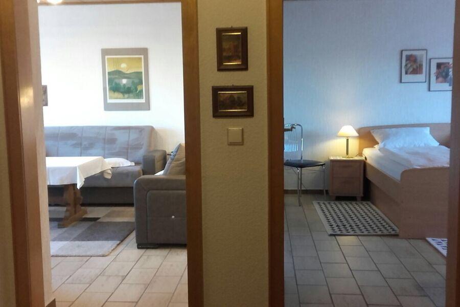 Flur m. Blick ins Wohn- und Schlafzimmer