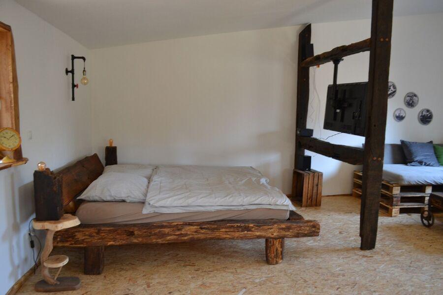 Fachwerkbalken Bett aus Eiche