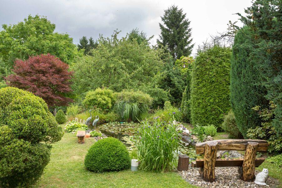 Idyllischer Garten mit großem Teich