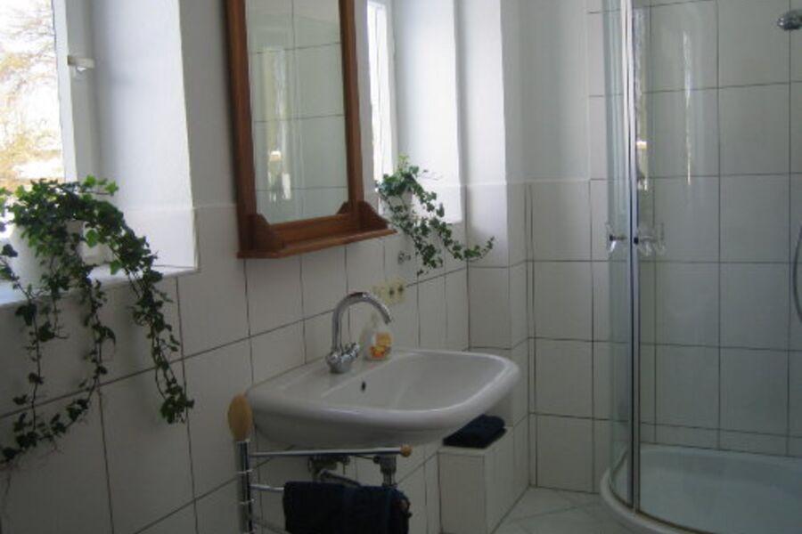 Badezimmer mit Blick in den Garten