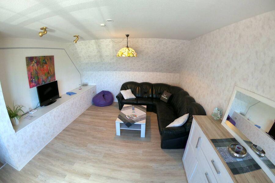 Wohnzimmer, Ledercouch, TV, WLAN