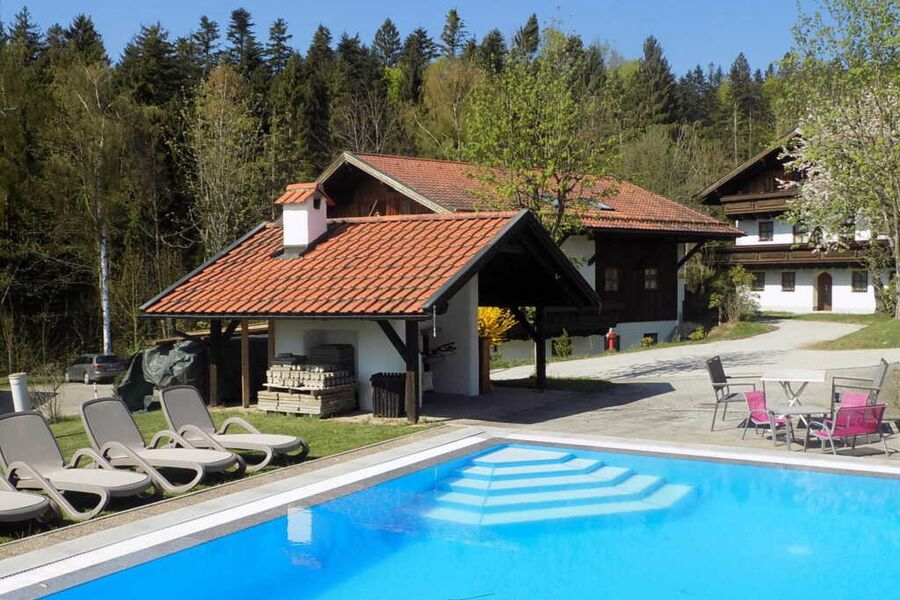 Pool mit Liegen und Grillplatz