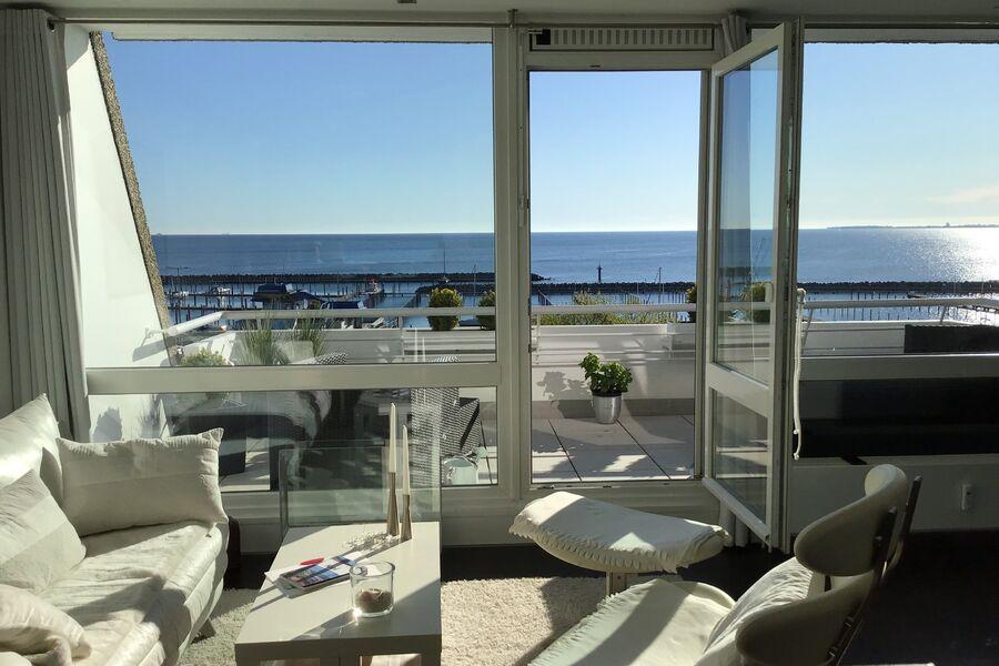 Ostseeblick von Küche, Balkon & Bett