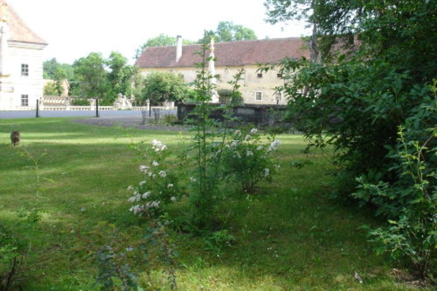 Blick aus dem Park auf das Haus