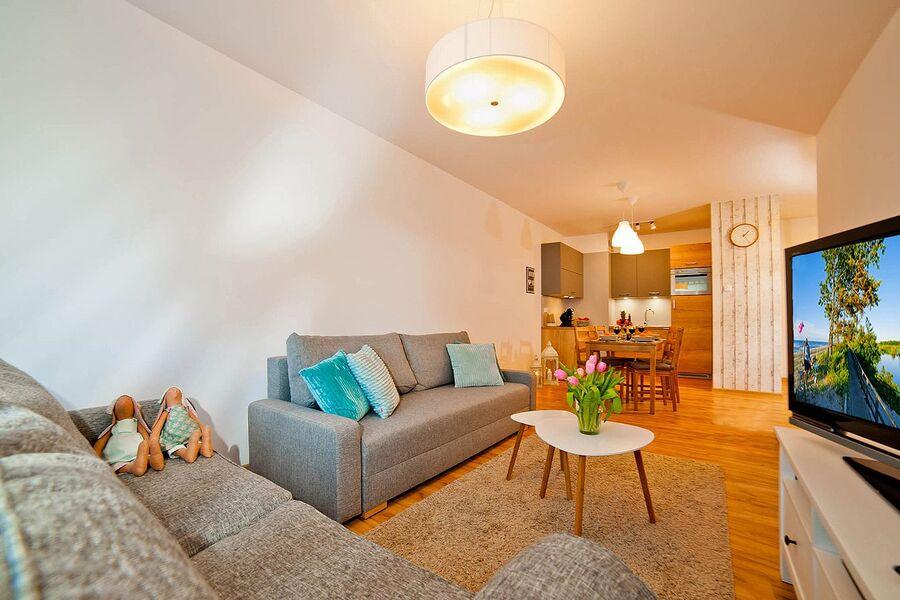 Wohnzimmer/Schlafzimmer mit 2 Sofa's