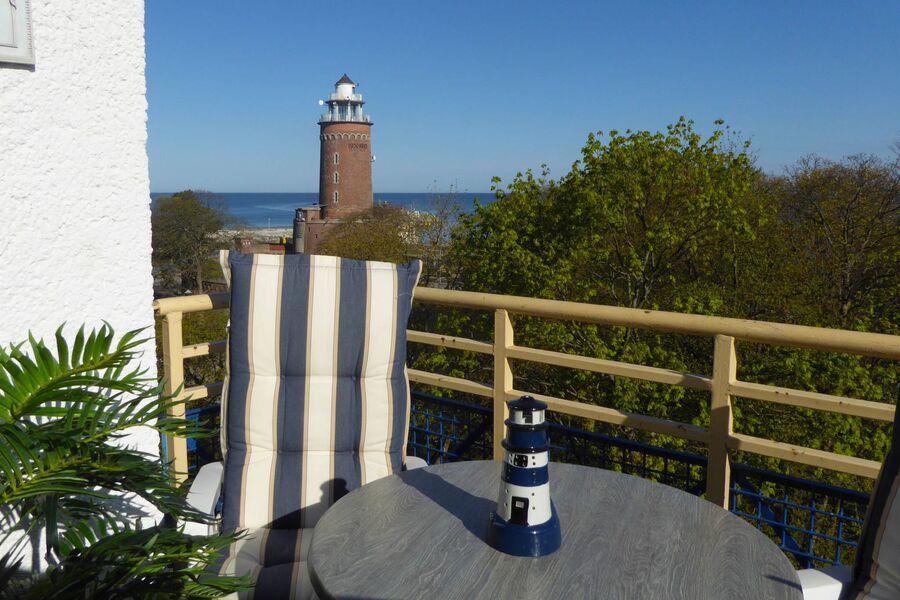 Aussicht vom Balkon auf das Meer.