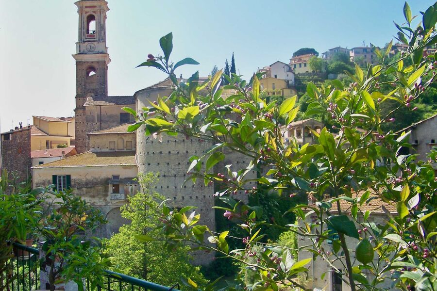 Blick auf das mittelalterliche Dorf
