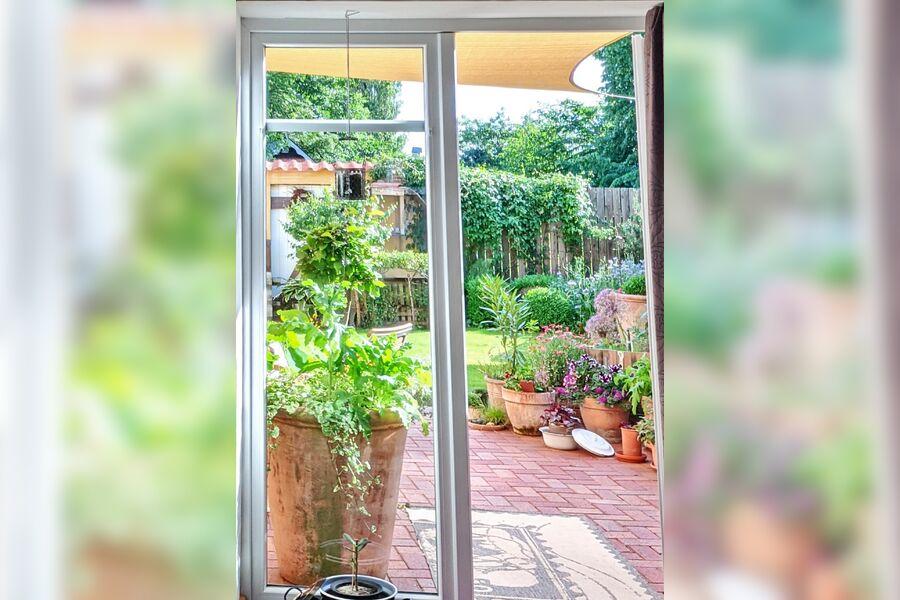 Der Blick in den kleinen Garten/ Terasse