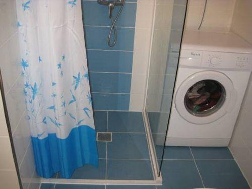 Dusche mit Duschsitz + Waschmaschine