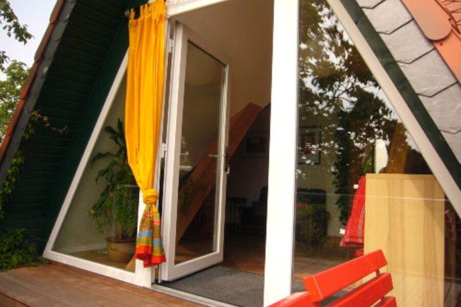 Eingang vom Balkon in die Ferienwohnung
