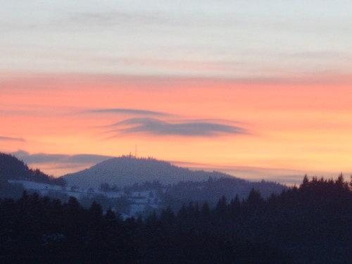 Blick von der Terrasse bei Sonnenaufgang