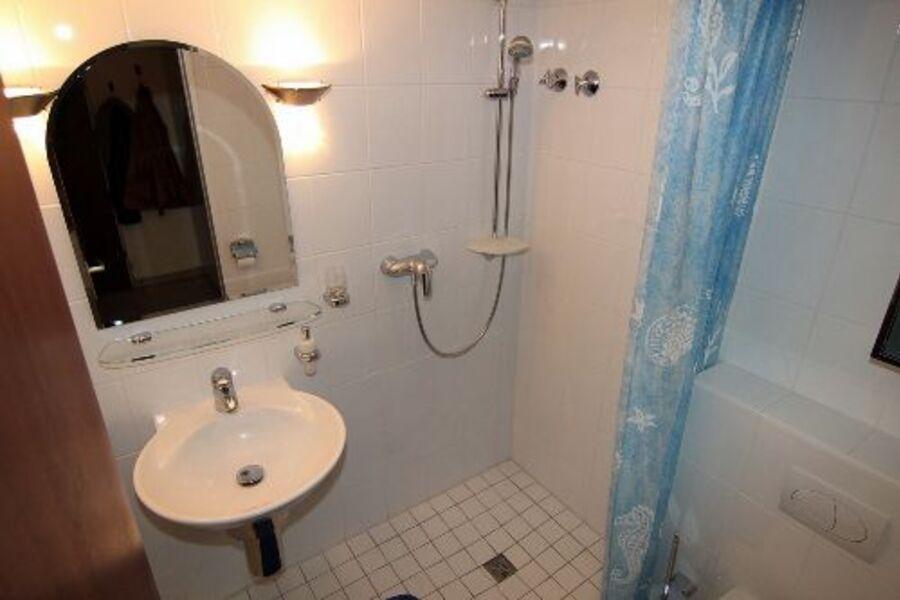 Blick in das Badezimmer mit Dusche