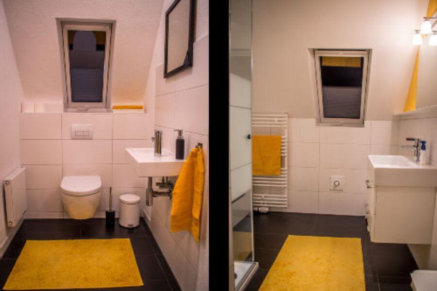 Duschraum und separater WC-Raum