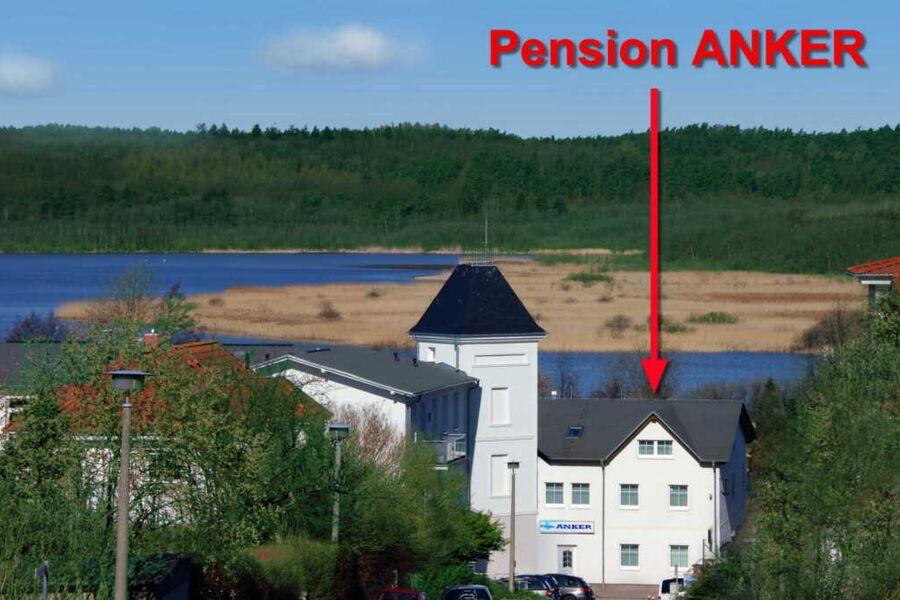 Blick vom Zinglingsberg auf Pension ANKER; im Hint