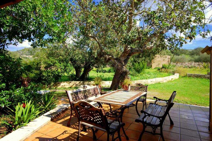 Wundervolle Terrasse mit Rasenfläche und Garten